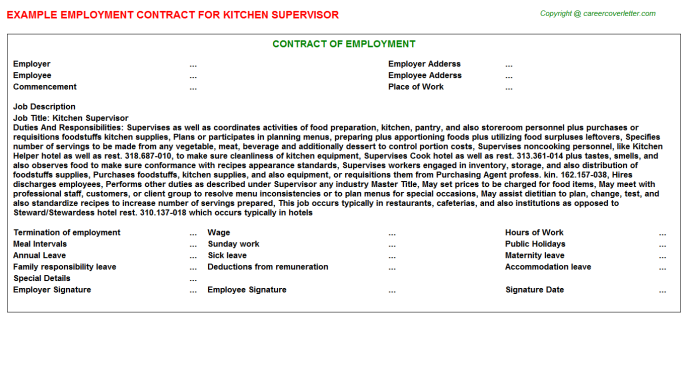 Kitchen Supervisor Employment Contract Template
