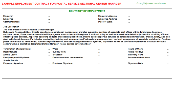 Postal Service Sectional Center Manager Employment Contract Template