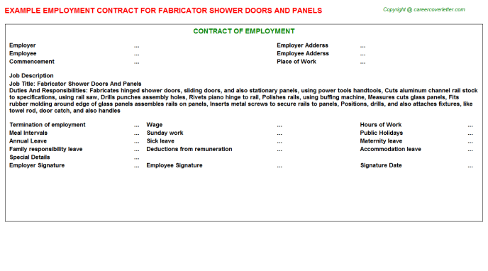 Fabricator Shower Doors And Panels Employment Contract Template