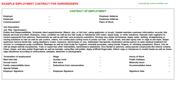 Hairdressers Employment Contract Template