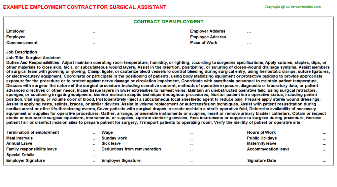 Surgical Assistant Employment Contract Template