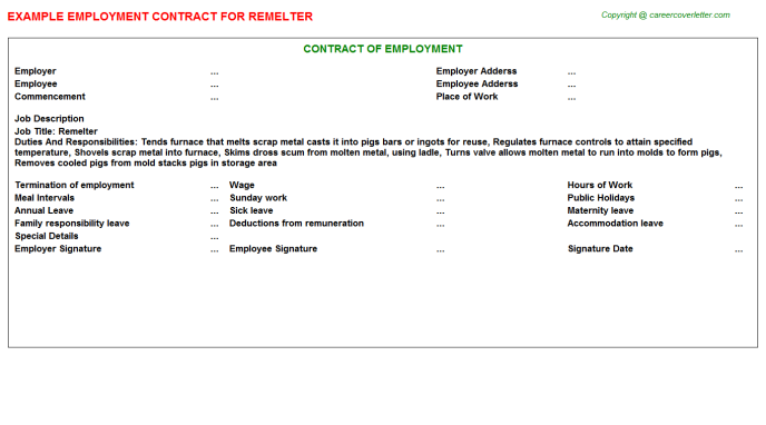 Remelter Employment Contract Template