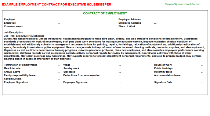 Executive Housekeeper Employment Contract Template