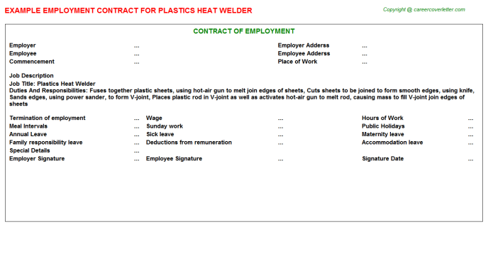 plastics heat welder employment contract template