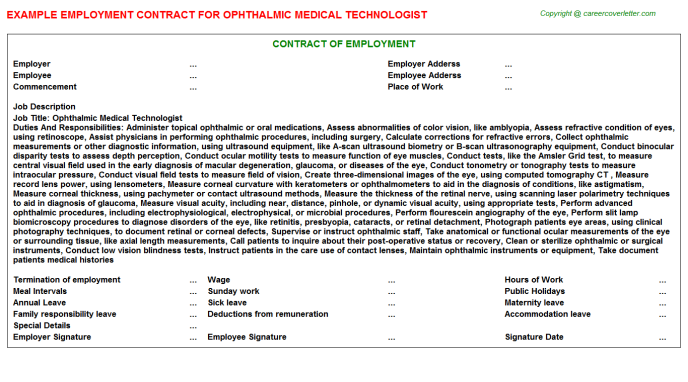 Ophthalmic Medical Technologist Job Employment Contract Template