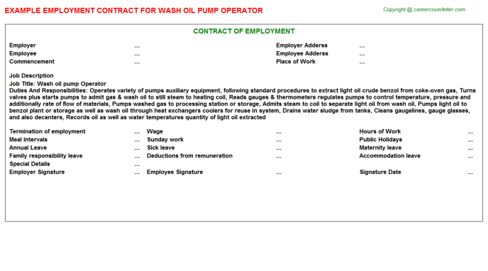 wash oil pump operator employment contract template