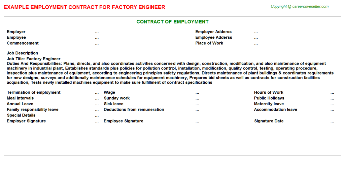 Factory Engineer Employment Contract Template