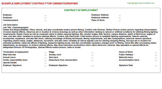 Cinematographer Employment Contract Template