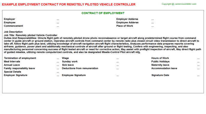 Remotely Piloted Vehicle Controller Job Contract Template
