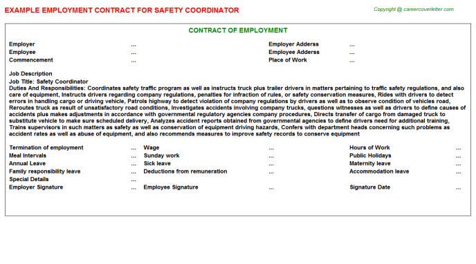 Safety Coordinator Employment Contract Template