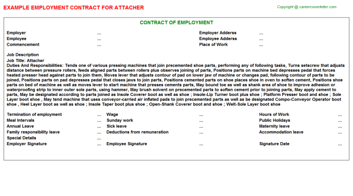 Attacher Employment Contract Template