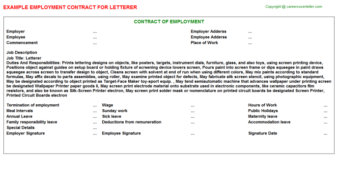 Letterer Job Employment Contract Template