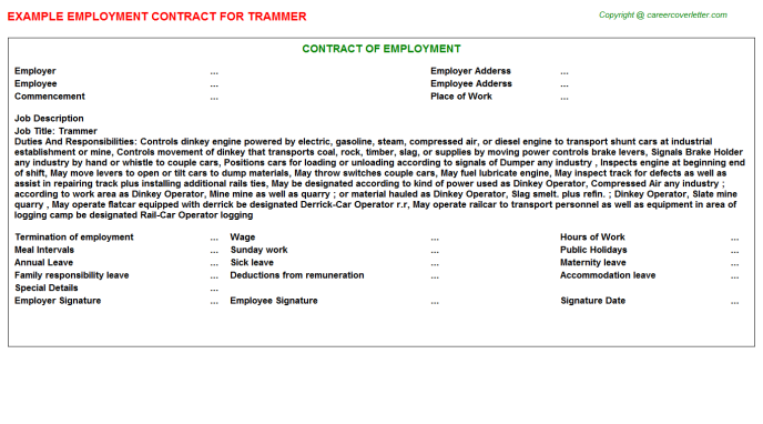 Trammer Employment Contract Template