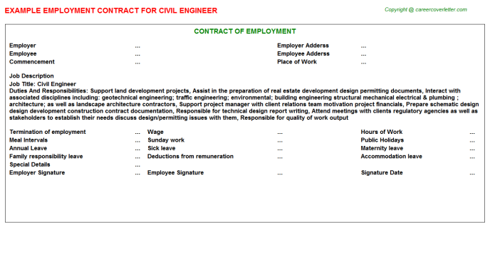 Civil Engineer Employment Contract Template