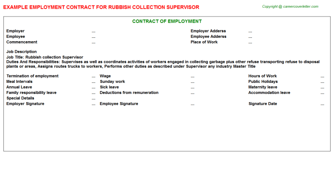 Rubbish Collection Supervisor Employment Contract Template