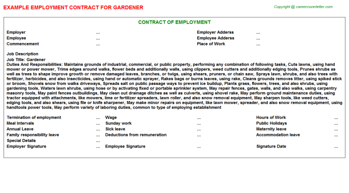Gardener Employment Contract Template