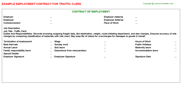Traffic Clerk Employment Contract Template