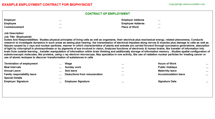 Biophysicist Job Employment Contract Template