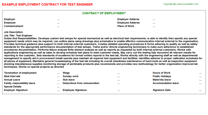 Test Engineer Employment Contract Template