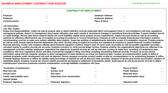 auditor employment contract template