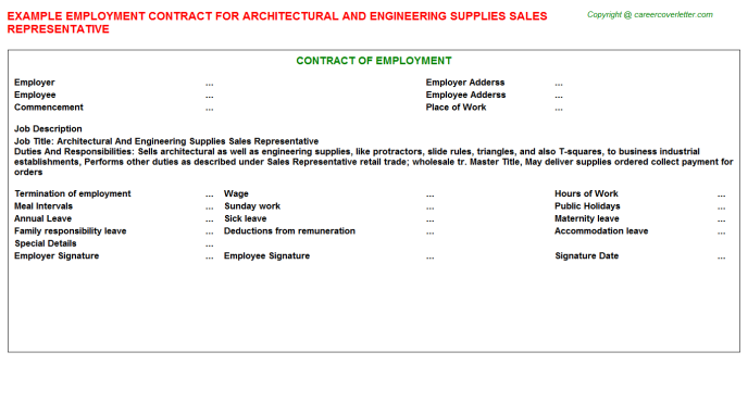 architectural and engineering supplies sales representative employment contract template
