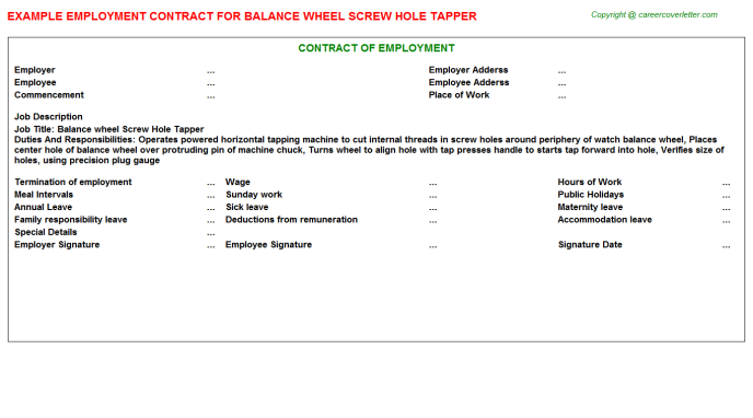 Balance wheel Screw Hole Tapper Employment Contract Template