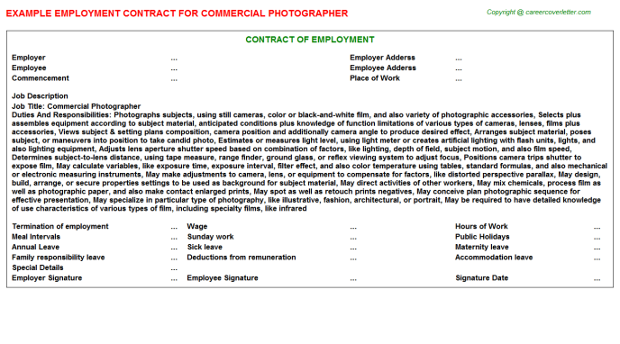 commercial photographer employment contract template