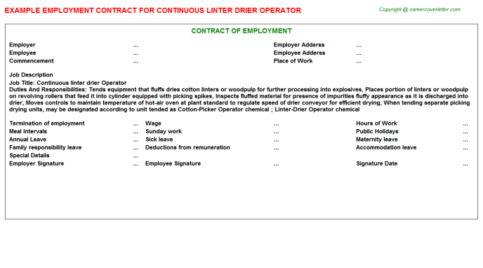 continuous linter drier operator employment contract template