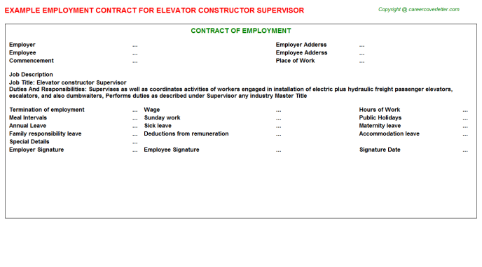 Elevator Constructor Supervisor Employment Contract Template