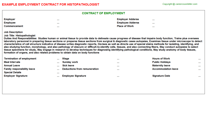 Histopathologist Employment Contract Template