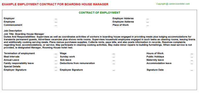 boarding house manager employment contract template