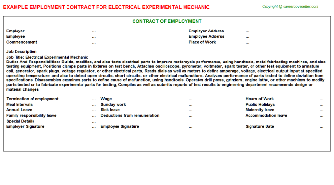 Electrical Experimental Mechanic Employment Contract Template
