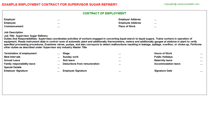 supervisor sugar refinery employment contract template