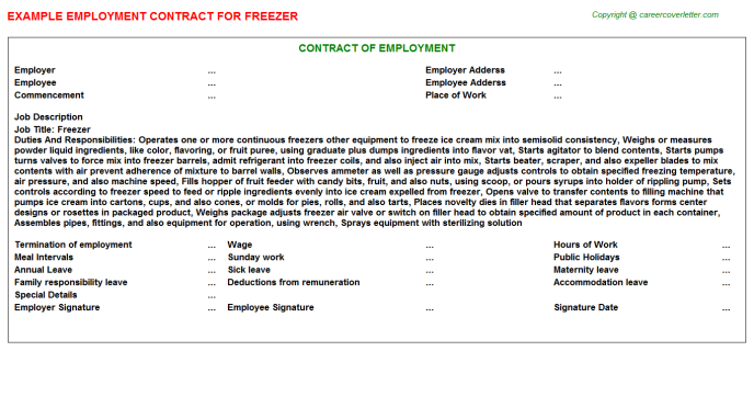 Freezer Employment Contract Template