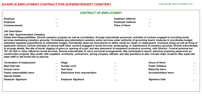 Superintendent Cemetery Employment Contract Template