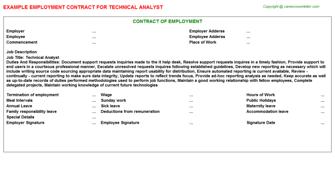 Technical Analyst Employment Contract Template