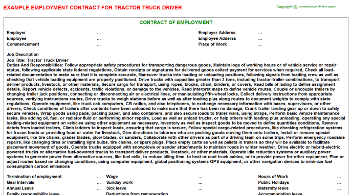 Tractor Truck Driver Employment Contract
