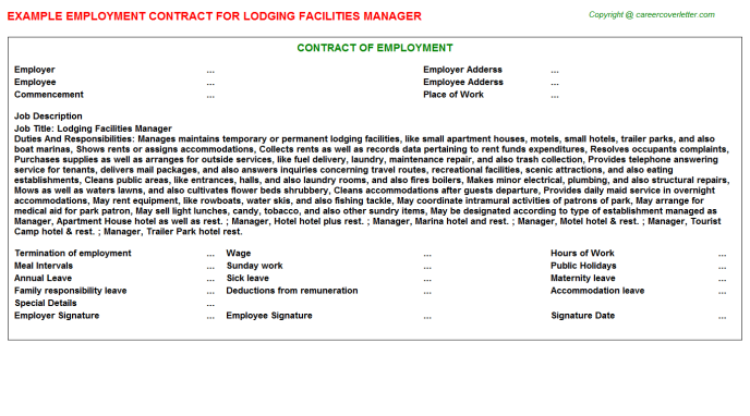 Lodging Facilities Manager Employment Contract Template