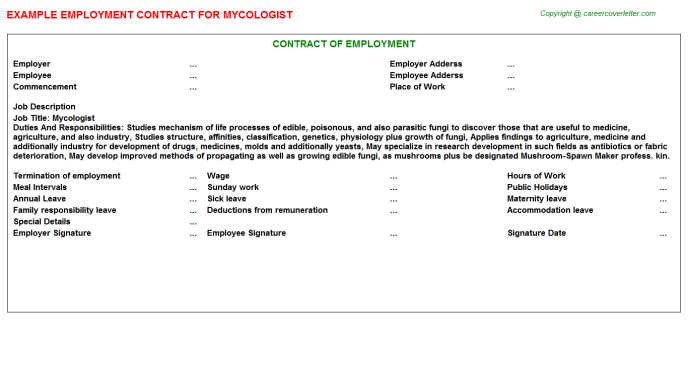 Mycologist Employment Contract Template