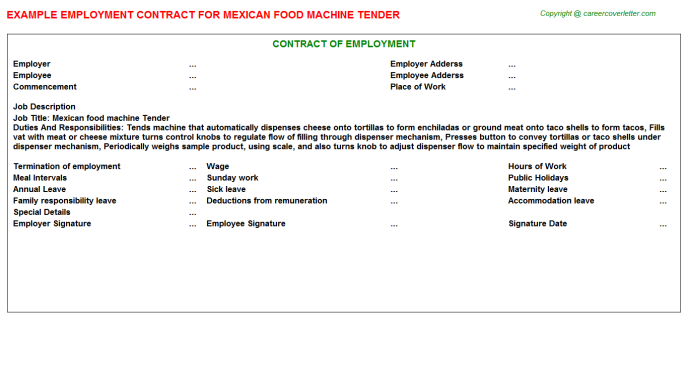 Mexican food machine Tender Employment Contract Template