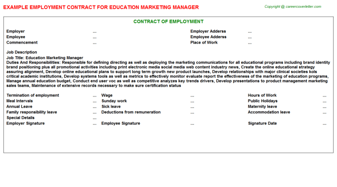 Education Marketing Manager Job Contract Template