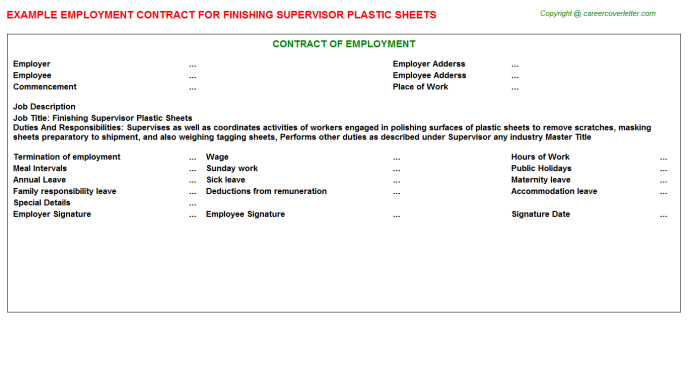finishing supervisor plastic sheets employment contract template