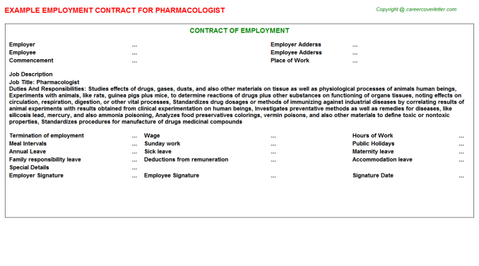 Pharmacologist Employment Contract Template