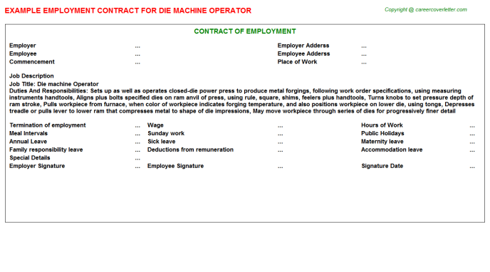 Die Machine Operator Employment Contract Template