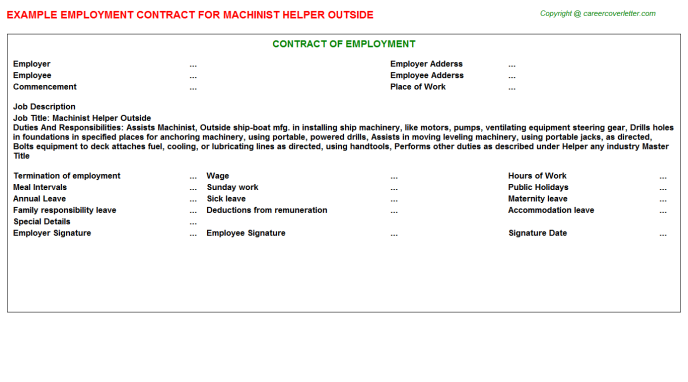 Machinist Helper Outside Employment Contract Template