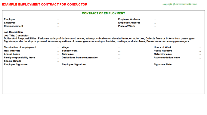 Conductor Employment Contract Template