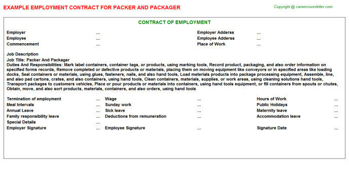 packer and packager employment contract template