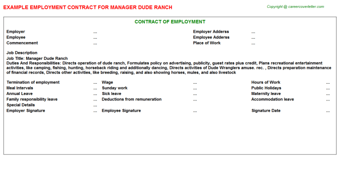Manager Dude Ranch Employment Contract Template