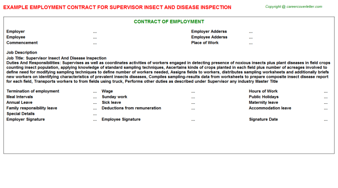 supervisor insect and disease inspection employment contract template