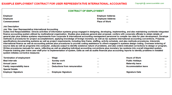 User Representative International Accounting Employment Contract Template